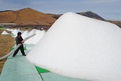 造雪機で次々とできあがる雪山=大分県九重町で、楢原義則撮影