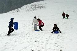 スキー場開きをした「わかさ氷ノ山スキー場」。子供たちがソリ遊びを楽しんだ=鳥取県若桜町(写真:産経新聞)