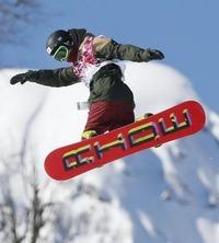 スノーボード男子スロープスタイルの初練習で調整する角野友基=ソチ(共同)