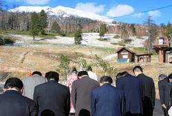 スキー場の安全とにぎわいを願った祈願祭=王滝村のおんたけ2240で