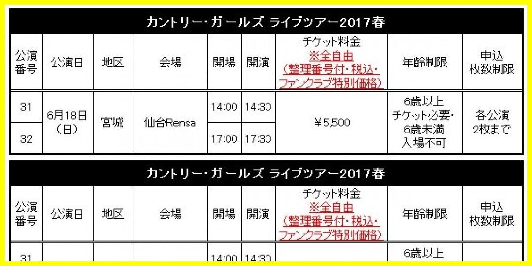 【公式】「カントリー・ガールズ ライブツアー2017春」追加公演FC先行受付のお知らせ