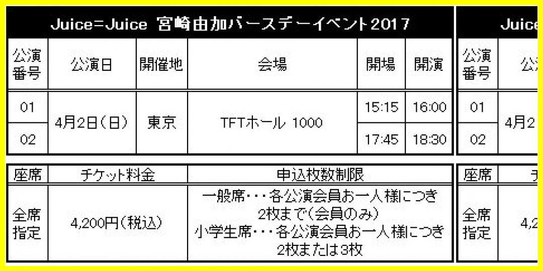 【公式】★ファンクラブ会員限定イベント★「Juice=Juice 宮崎由加バースデーイベント2017」2次受付のお知らせ