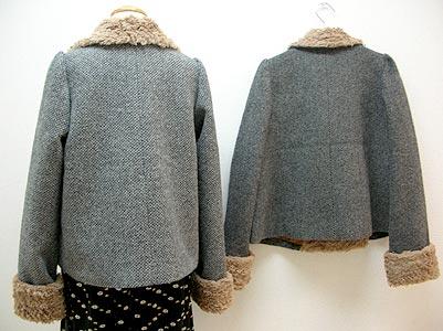 ファー衿4つ釦ジャケット