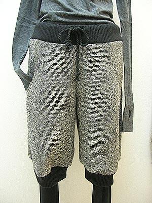 ツイード&リブの半端丈パンツ