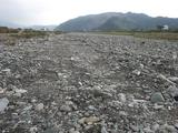 地学散歩・関川  土居町関川の河原の様子一面に岩石があります