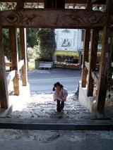 大日寺 疲れた様子で山門をくぐる樹絵瑠