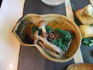 茸と山東白菜菜のお浸し