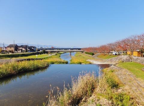 11・馬井出橋から大和川下流を・先に二上山
