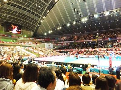 東京体育館も日韓戦は満席