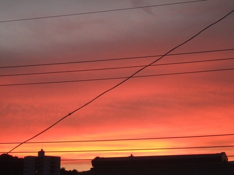 北の空が赤い