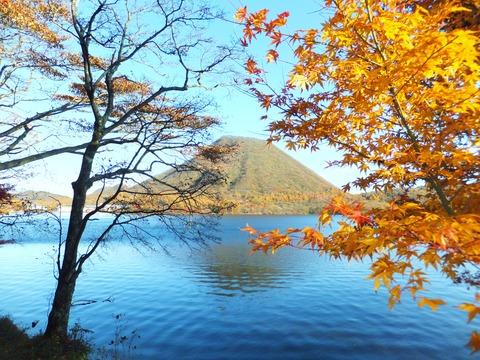 湖畔の黄葉は残っています