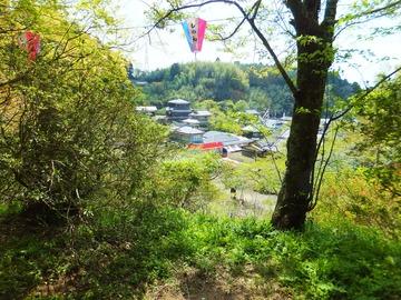亀甲(カメガセ)山より門前にならぶ土産屋を見下ろす