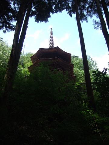 山腹に聳える八角三重塔