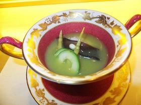 エンドウ豆のすり流し、柚子の花・・・