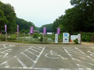 駐車場から・奥にしょうぶ公園があります