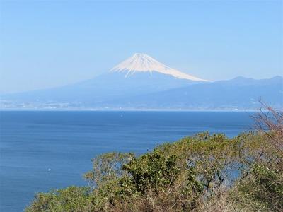 出逢い岬から駿河湾越しに富士山を望む