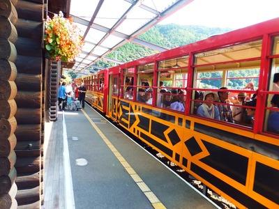 トロッコ亀岡駅ホーム・乗って来た列車が戻ります