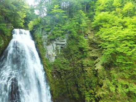 新緑を裂きなだれ落ちる大滝