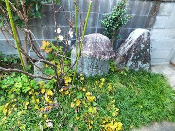 左に埋まるのが陰石・真ん中が陽石