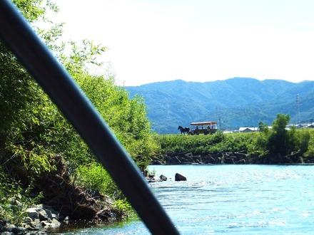 保津川下りの舟から馬車が見えました