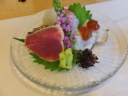 6・お造り(鰹・鯛・鱧焼霜)