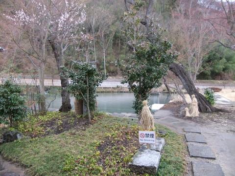 表門を入った泉水池のある光景