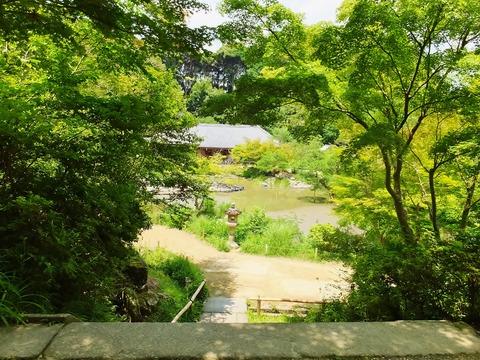 12・三重塔階段上から石燈籠と阿弥陀堂を見る