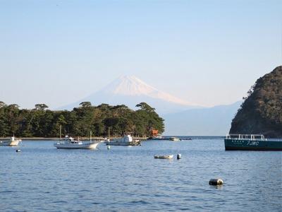 早朝の富士山 御浜岬の遠景として