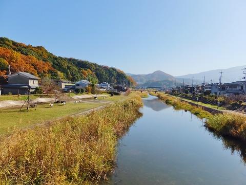 12・馬井出橋から海柘榴市歴史公園と大和川上流を・忍坂(おさか)山