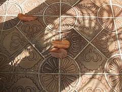 玄関の落ち葉