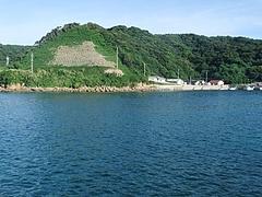 桜櫻より前方の海を