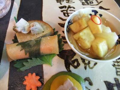 林檎と鳴門金時の甘酢漬・カナッペ・春巻き