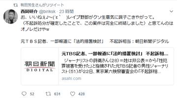 有田芳生が山口敬之に対する中傷ツイートをRT 「レイプ野郎がクソ生意気に調子こきやがって」