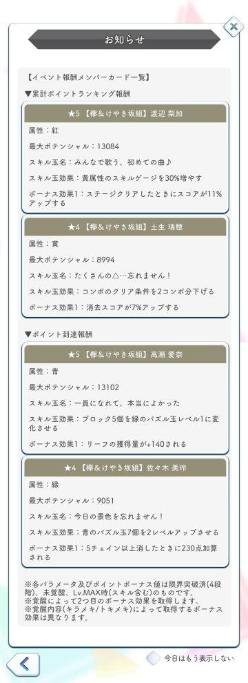 W-KEYAKI(後) 報酬カード詳細
