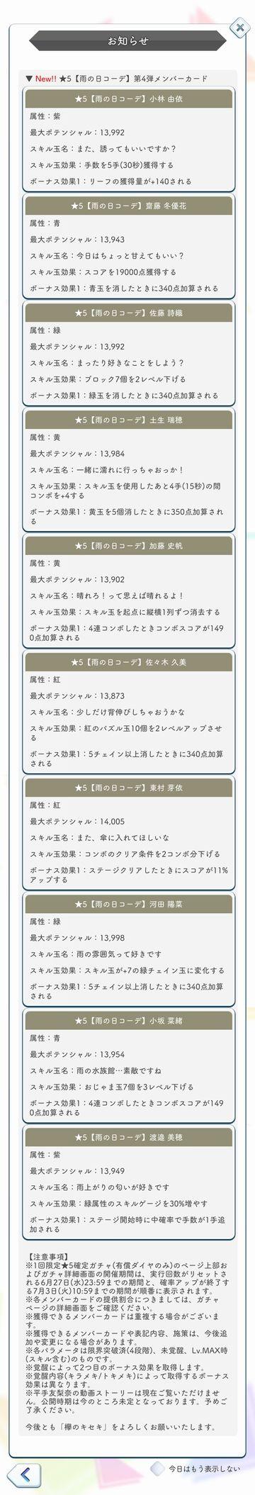 00 雨の日コーデ ガチャ詳細