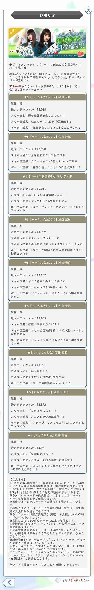 00 ハーネス衣装2017 ガチャ詳細