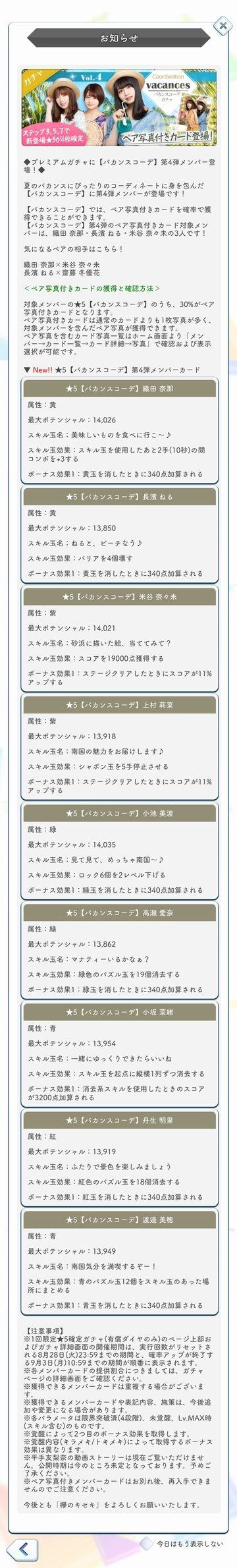 00 バカンスコーデ(4) ガチャ詳細