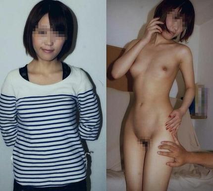 素人の女の子たちの、着衣姿と全裸姿を並べてみた