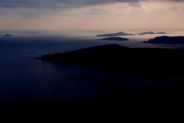 小島を見ながら