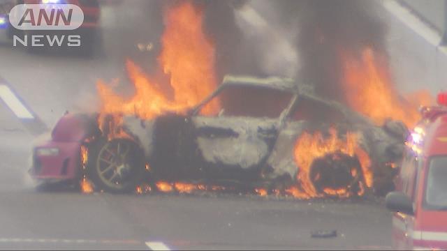 【ポルシェ炎上】紫色のポルシェが燃えた エンジンルームから火の手