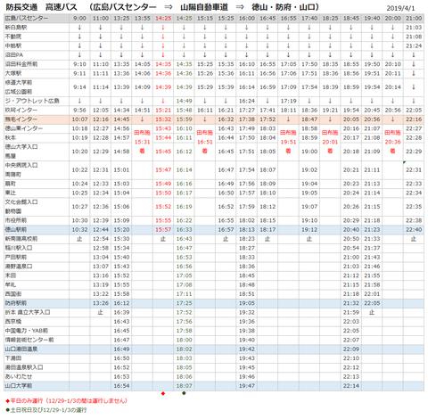 防長高速バス広島山口201941改定版
