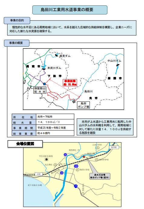 島田川工業用水取水式