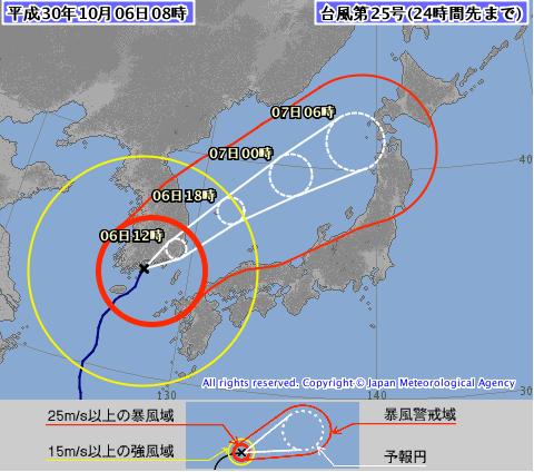 台風25号進路図