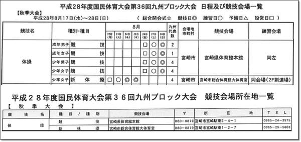 九州ブロック日程