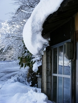 ずり落ちそうな雪