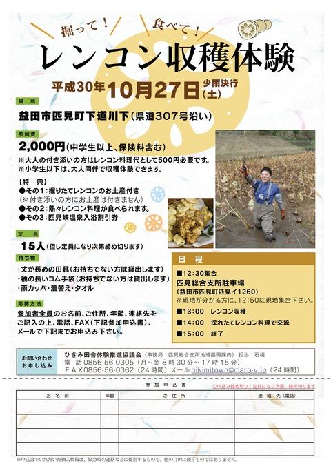 レンコン収穫体験チラシ