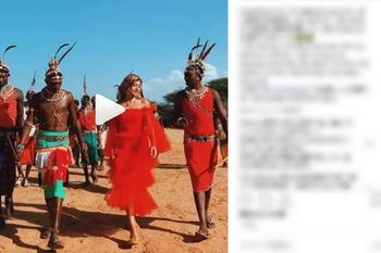 """【画像】ローラ、ケニアの部族を""""真っ赤なドレス姿""""で訪問して世間は失笑!"""