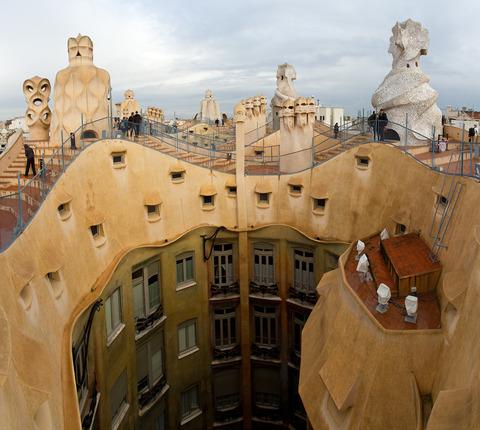 2011Nov19-5202-Barcelona-CasaMilaRoofPano