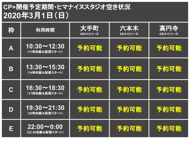 CP+代替ライブ配信スタジオ枠0301