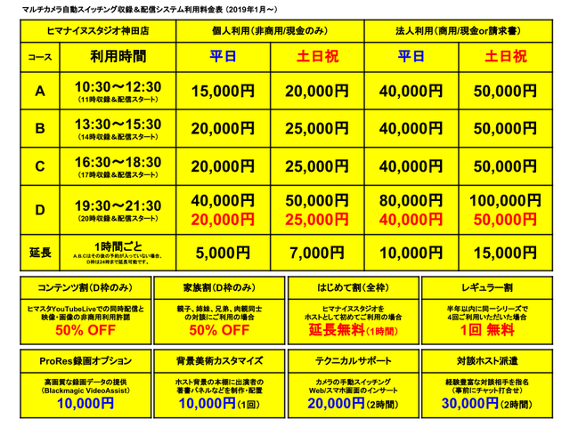 ヒマスタ神田店料金表201901